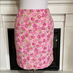 Lilly Pulitzer Iced  Pink Rolls Royce Snail Skirt